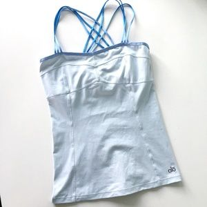 Alo Yoga Light Blue Strappy Tank with Built In Bra